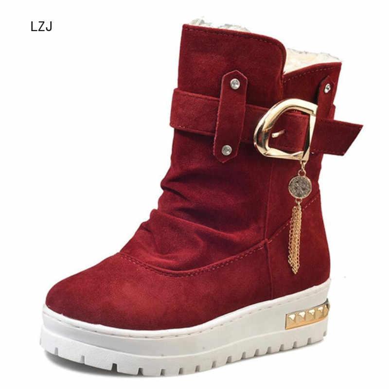 LZJ 2019 Kış Yeni Moda Toka Kar Botları kadın Yuvarlak Ayak Akın günlük çizmeler Rahat Sıcak kadın Orta buzağı Çizmeler 35-40