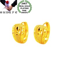 OMHXFC Jewelry Wholesale EH247 European Fashion Hot Fine Woman Girl Party Birthday Wedding Gift Vintage 24KT Gold Hoop Earrings(China)