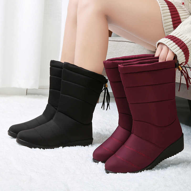 LAKESHI Mid-Calf Boots Waterproof Snow Boots Winter Boots for Women Shoes Fur Warm Winter Women Boots Tassel Light Boots Female