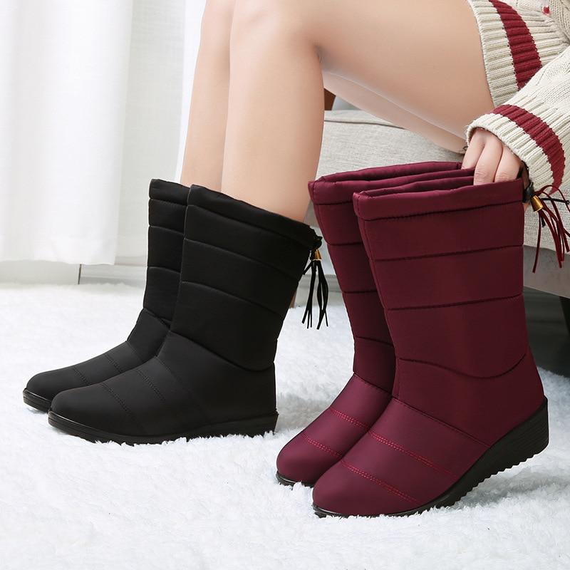 LAKESHI Mid-Calf Boots Waterproof Snow Winter for Women Shoes Fur Warm Tassel Light Female