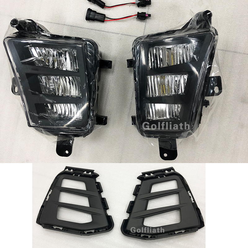 For Golf 7.5 Mk7.5 G TI 2018-2019 LED Car-Styling DRL Daytime Running Light Fog Light Front Bumper Fog Lamp Grille