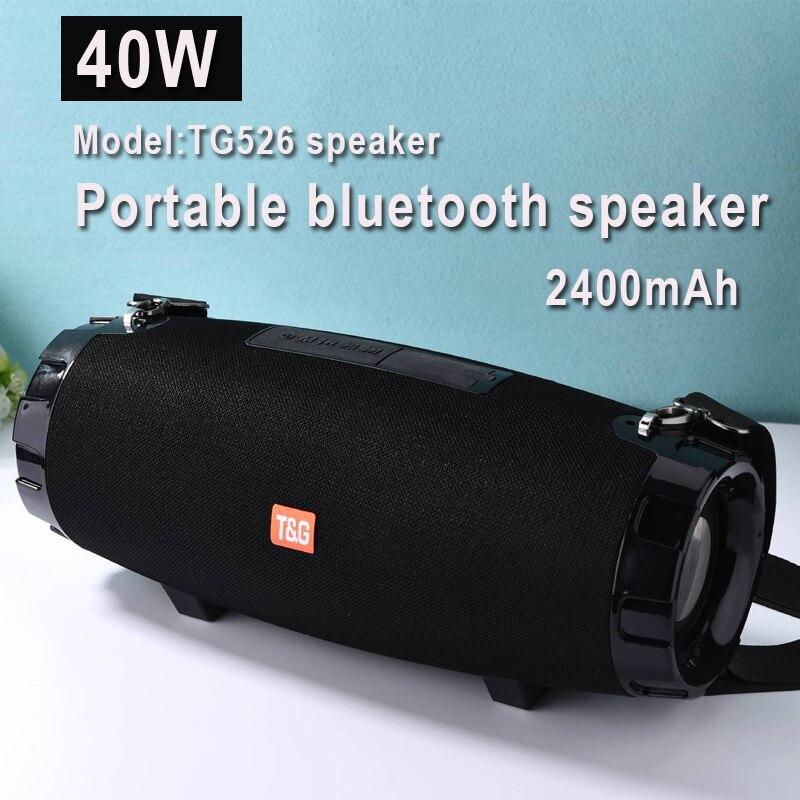 Haut-parleur bluetooth portable extérieur TG526 40W, avec radio FM, USB, portable, haut-parleur, haute puissance, grande taille, étanche, 3D, ste