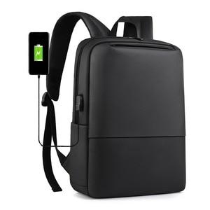PUIMENTIUA Laptop Backpack Men 15.6 Inch Office Work Men Backpack Business Bag Unisex Black Ultralight Backpack Thin Mochila