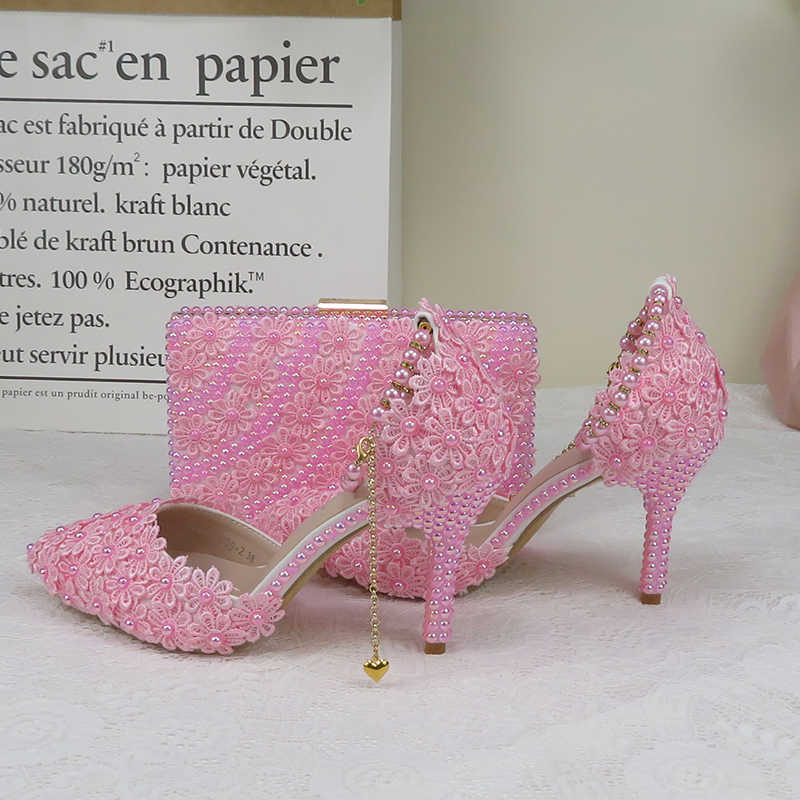 AB Pink Pearl Flower Wedding Shoes With