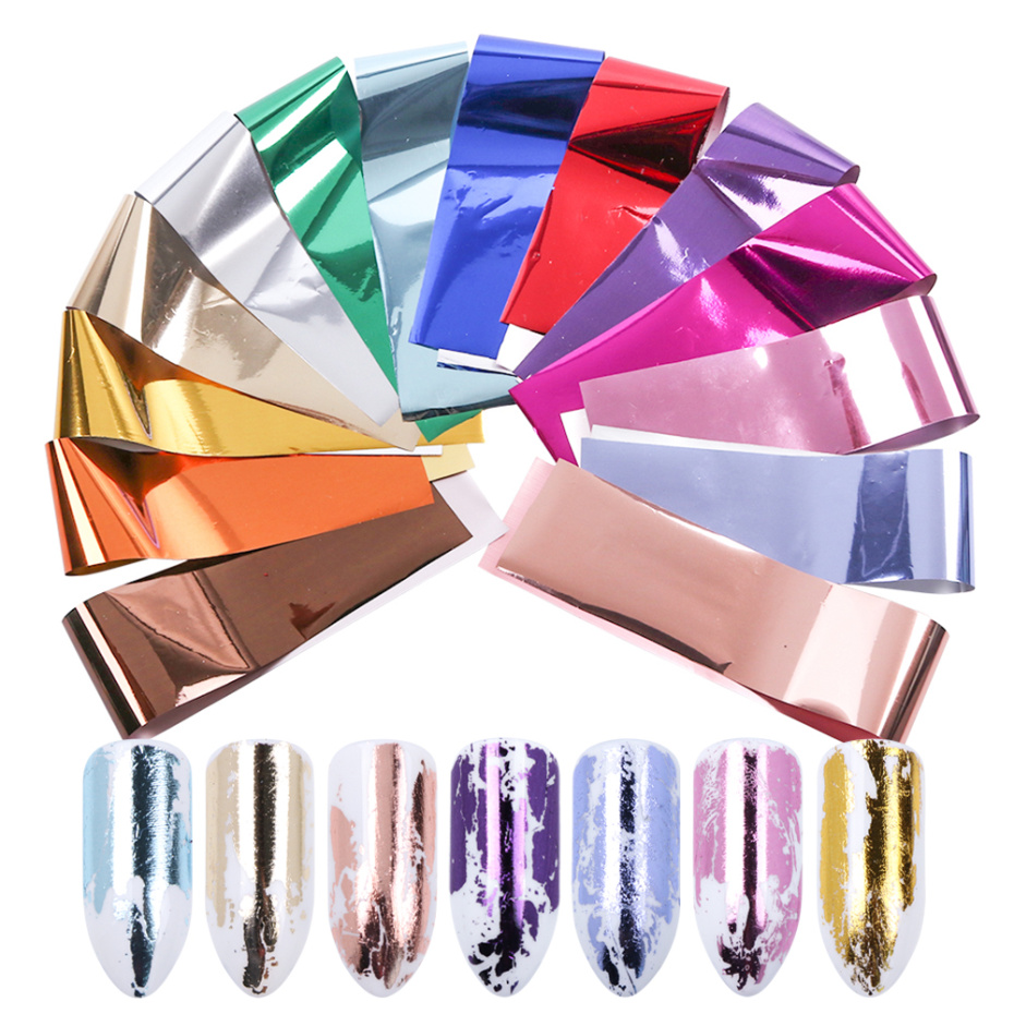 14pc Metal Holographic Transfer Foil For Nail Art Laser Mirror Effect Charm Nail Foil Sticker Decal Manicure Accessories LA996-1