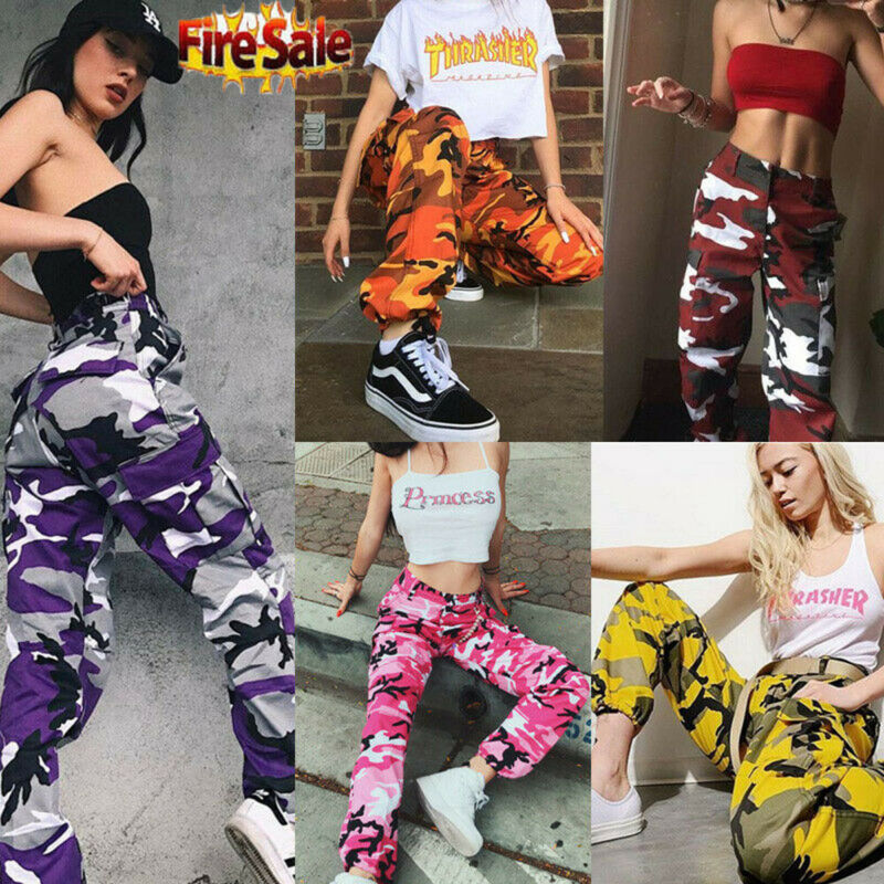 2020 HOT Women Camo Cargo High Waist Hip Hop Trousers Pants Military Army Combat Camouflage Long Pants Hot Capris