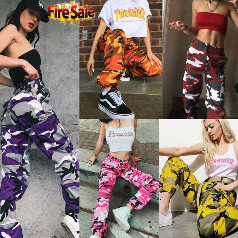 2020 HOT Women Camo Cargo High Waist Hip Hop Trousers Pants Military Army Combat Camouflage Long Pants Hot Capris
