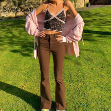 Sweetown Braun Y2K Jeans Jogger Frauen Flare Hosen Vintage Streetwear Mid Taille Ästhetische Denim-hosen Weiblichen Jogginghose