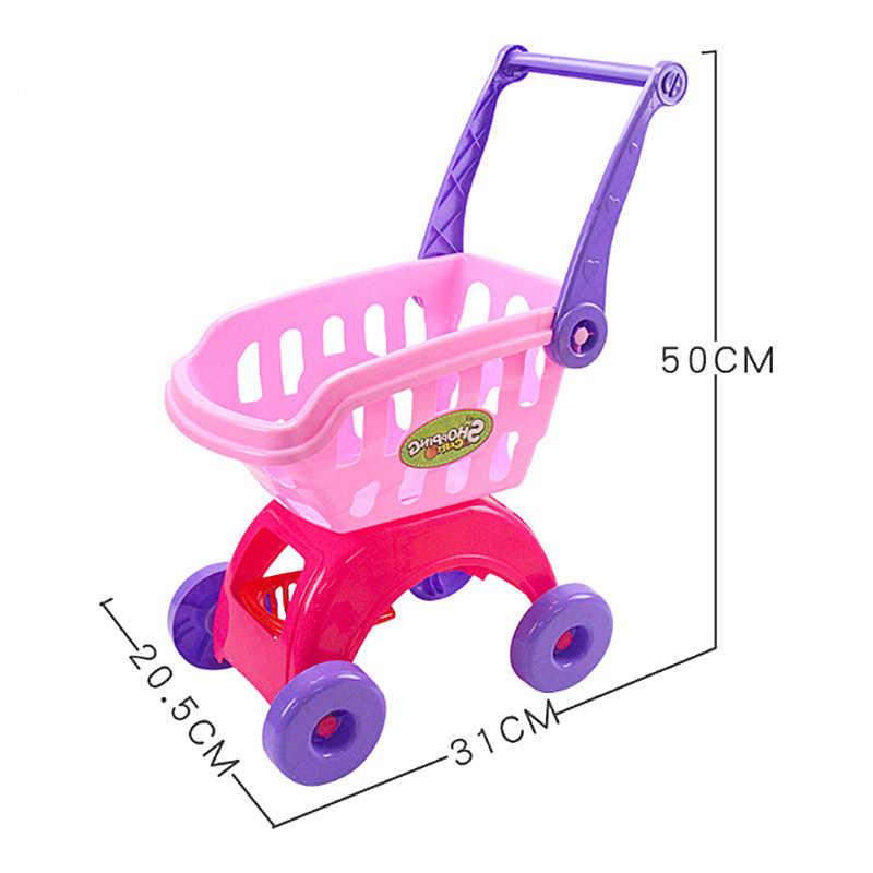 25Pcs Kinder Warenkorb Spielzeug Supermarkt Wagen Lebensmittel Warenkorb Spielen Haus Küche Spielzeug Set Simulation Obst und Gemüse Spielzeug