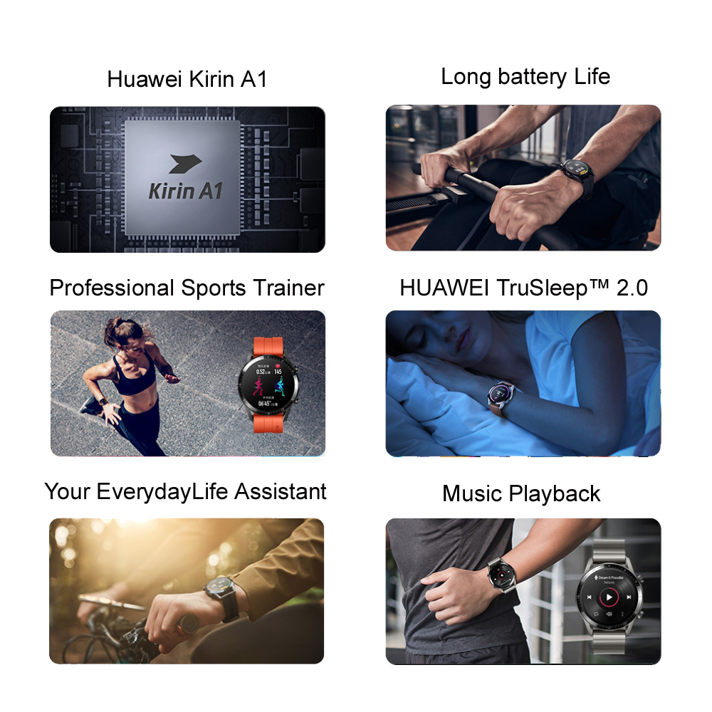 Original Huawei Smart Watch GT 2 GPS Two-Week Battery Life Waterproof Phone Call Heart Rate Tracker For Android iOS (2)