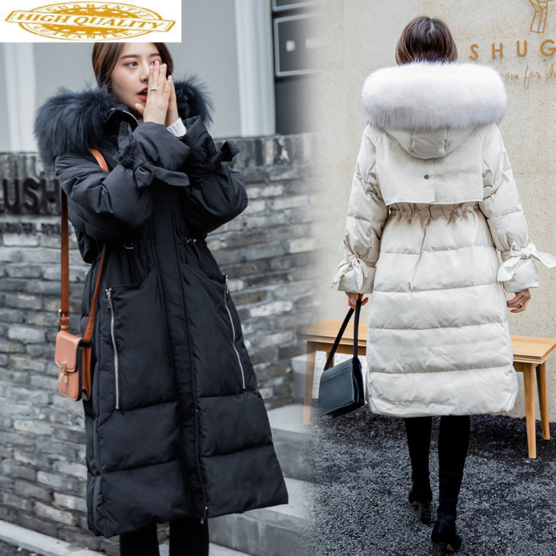 2020 Winter Down Jacket Woman Hooded Big Fur Collar Korean Long Duck Down Coat Women Jackets Parka Chaqueta Mujer KJ2555