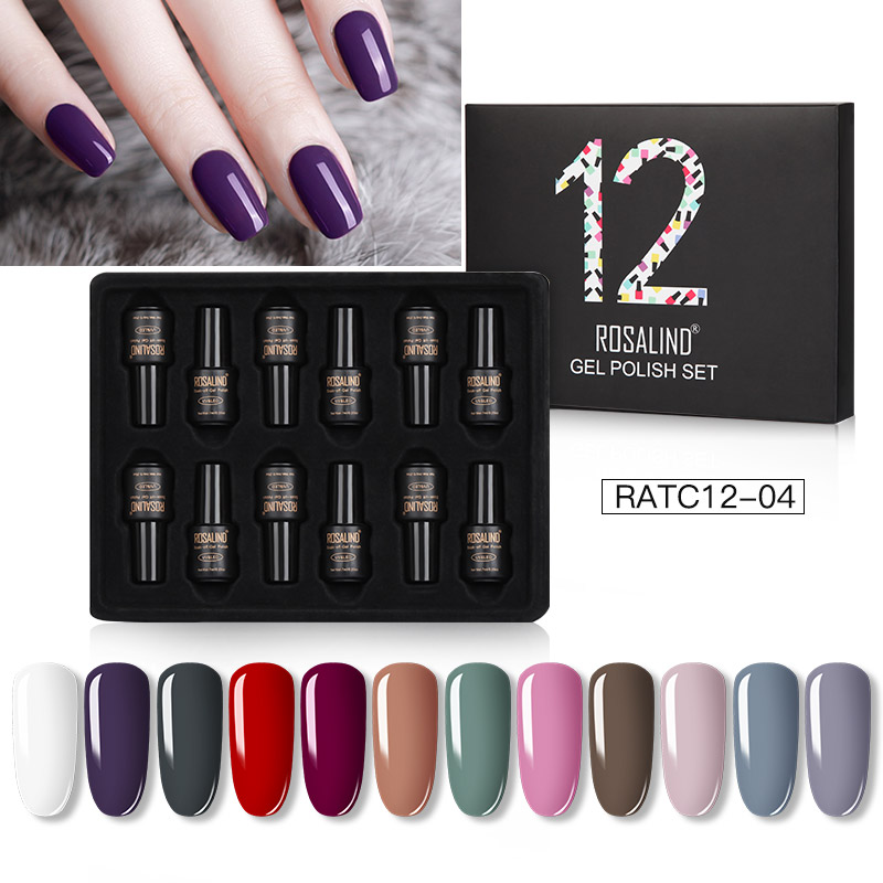 ROSALIND Gel Nail Polish Set Solid Color Nail Kit For Manicure Vernis Semi Permanent 7ML Gel Kit Top And Base All For Manicure 14