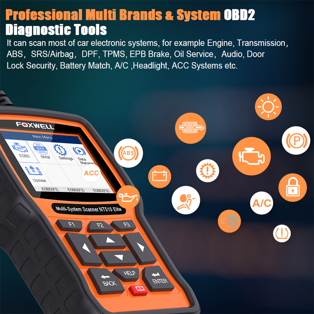 Image 2 - Foxwell NT510 Elite OBD Car Diagnostic Tool Automotive Scanner Full System ABS SRS Airbag DPF EPB Oil Reset ODB2 OBD2 Scanner-in Engine Analyzer from Automobiles & Motorcycles on