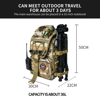 WAR GROUND Military Tactical 1000D Nylon 40L Backpack Mens Travel Bags Sports Camping Hiking Fishing Outdoor Camouflage Bags 2