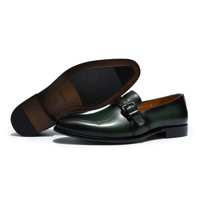 Felix chu 우아한 남성 로퍼 스님 스트랩 정품 가죽 버클 캐주얼 드레스 신발 슬립 웨딩 파티 mens 정장 신발-에서남성용 캐주얼 신발부터 신발 의  그룹 3