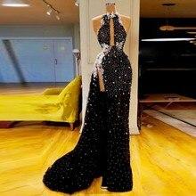Dubai vestido de noite preto mangas o pescoço robe de soiree longue lindo 2019 vestidos de noite com contas vestido formal elegante abiye