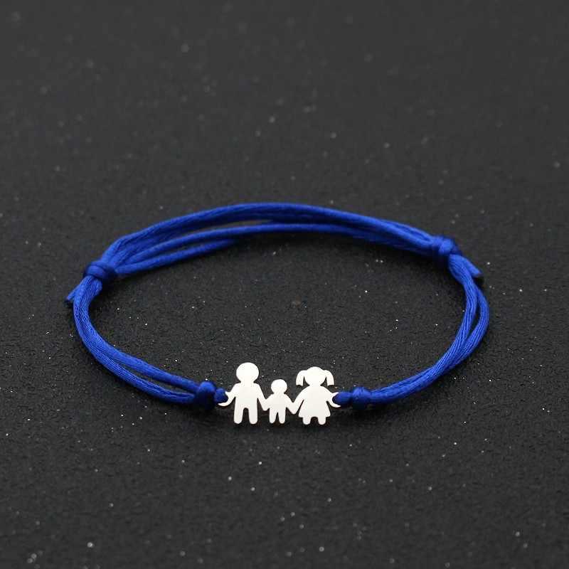 Cute Bear Handmade Infinity Bracelet Charm Stainless Steel Family Dad Mom Son Lucky Red String Bracelets for Women Men Jewelry