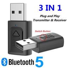 USB Bluetooth 5.0เครื่องรับสัญญาณเครื่องส่งสัญญาณ3ใน1มินิ3.5มม.แจ็คAUX RCAสเตอริโอเพลงอะแดปเตอร์ไร้สายสำหรับทีวีรถลำโพงPC