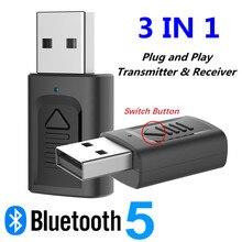 USB Bluetooth 5.0 Ricevitore Audio Trasmettitore 3 IN 1 Mini 3.5 millimetri Martinetti AUX RCA Stereo Senza Fili di Musica Adattatore per TV PC Per Auto ALTOPARLANTE