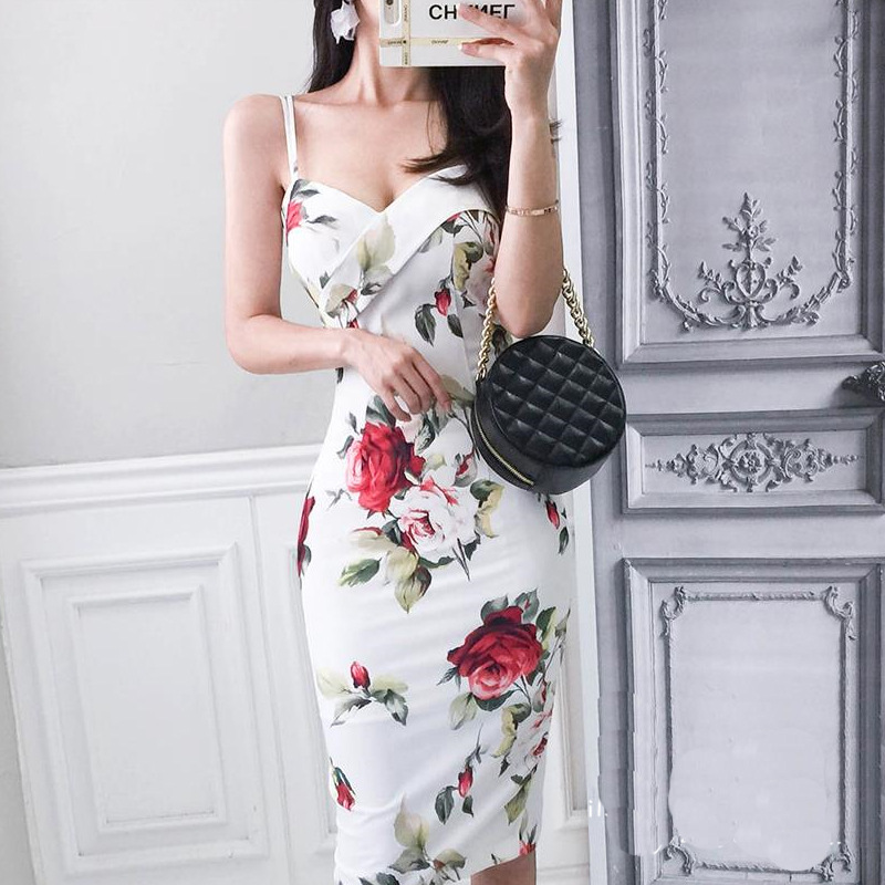 2019 Spring And Summer Korean-style-Printed Camisole Sexy Sheath Dress Backless Slit Slimming Base Skirt