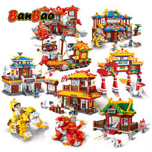 BanBao Chinese Style Kung Fu Temple Chinatown Chinese dragon Cannon Architecture Bricks Educational Building Blocks Toys Models