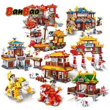 BanBao Chinesischen Stil Kung Fu Tempel Chinatown Chinesischen drachen Kanone Architektur Steine Pädagogisches Bausteine Spielzeug Modelle