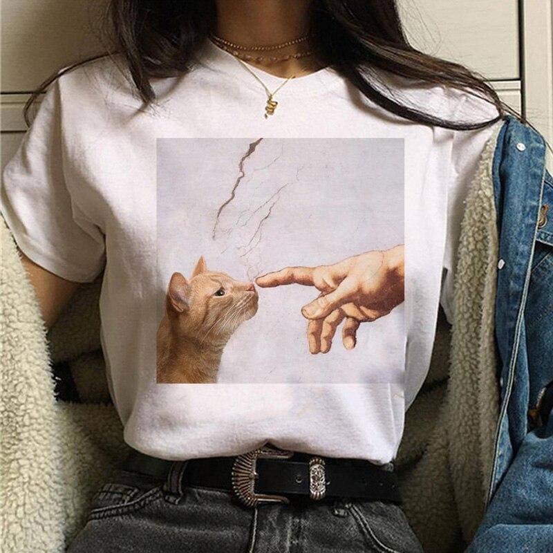 고양이 반 고흐 t 셔츠 여성 아트 인쇄 오일 미적 귀여운 재미 tshirt 90s 만화 ulzzang 캐주얼 탑 티 t 셔츠 여성 의류