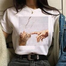 cat van gogh t shirt women art print Oil aesthetic Cute funn