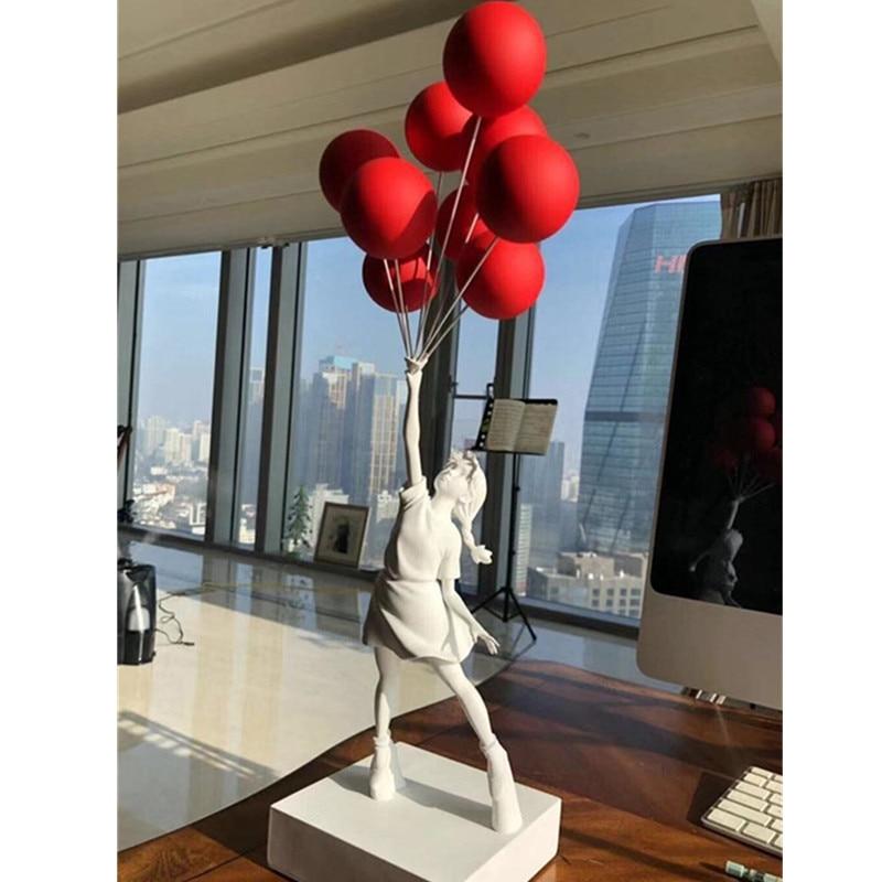 57CM Luxurious Balloon Girl Statues Balloons Girl Art Sculpture Resin Craft Home Decoration Christmas Gift 57cm A797