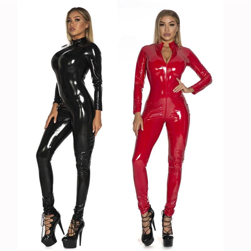 Новое сексуальное женское белье размера плюс 5XL, комбинезон для ночного клуба из искусственной кожи, латекс, ПВХ, на молнии, открытая промежн...