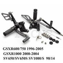 Podnóżki motocyklowe CNC podnóżek tylny zestaw podnóżek dla Suzuki GSXR 600 750 1000 K1-K5 SV 650 SV650S SV1000/S 1998-2014