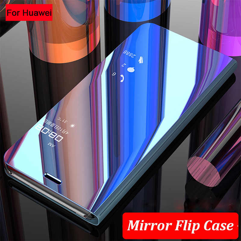 Smart Mirror Flip Case For Huawei P20 Mate 20 Lite 10 Pro P10 P8 P9 Honor 10 8X 9 8 7A 7C P Smart Y7 Y6 Y5 Prime 2018 Y9 2019