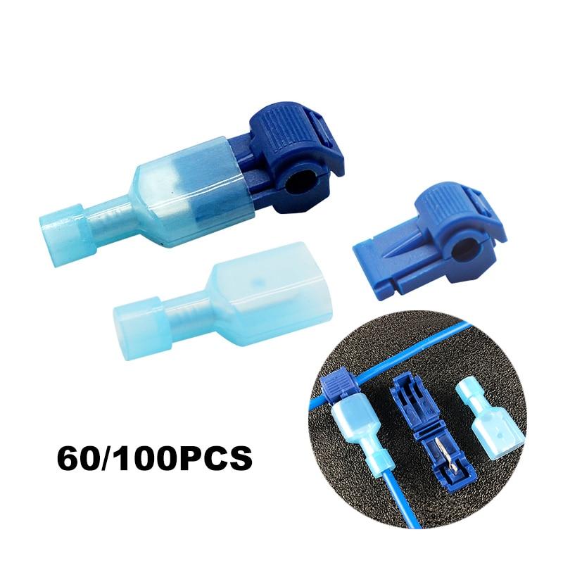 60/100PCS Quick Electrical Cable Connectors Snap Splice Lock Wire Terminals Crimp Wire Cable Blue Connectors