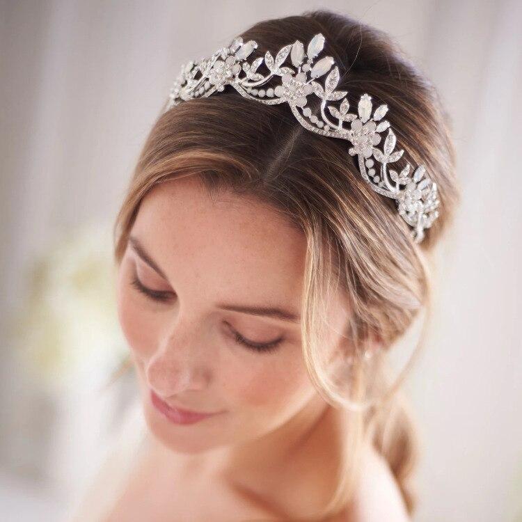 Тиара с опаловым кристаллом свадебная корона свадебный головной убор невеста аксессуары для волос для женщин