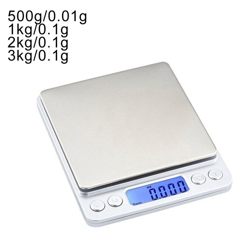 Точные цифровые весы с ЖК-дисплеем, 0,01/0,1 г, 500 г/1/2/3 кг, электронные мини-весы с граммами для взвешивания чая, выпечки, весы