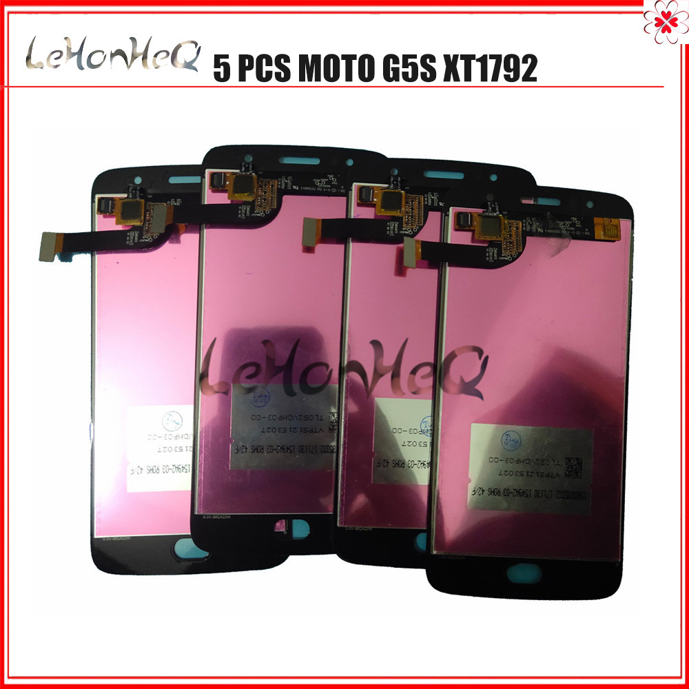 5 Piece/lot For Motorola MOTO G5S <font><b>XT1792</b></font> XT1793 XT1794 <font><b>LCD</b></font> Display Touch screen Digitizer Assembly For MOTO G5S XT1795 5.2
