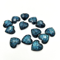 Taladro de agua de resina AB azul brillante con forma de corazón, redondo, convexo, parte trasera plana, accesorios de proceso, bricolaje, 80 Uds./10mm