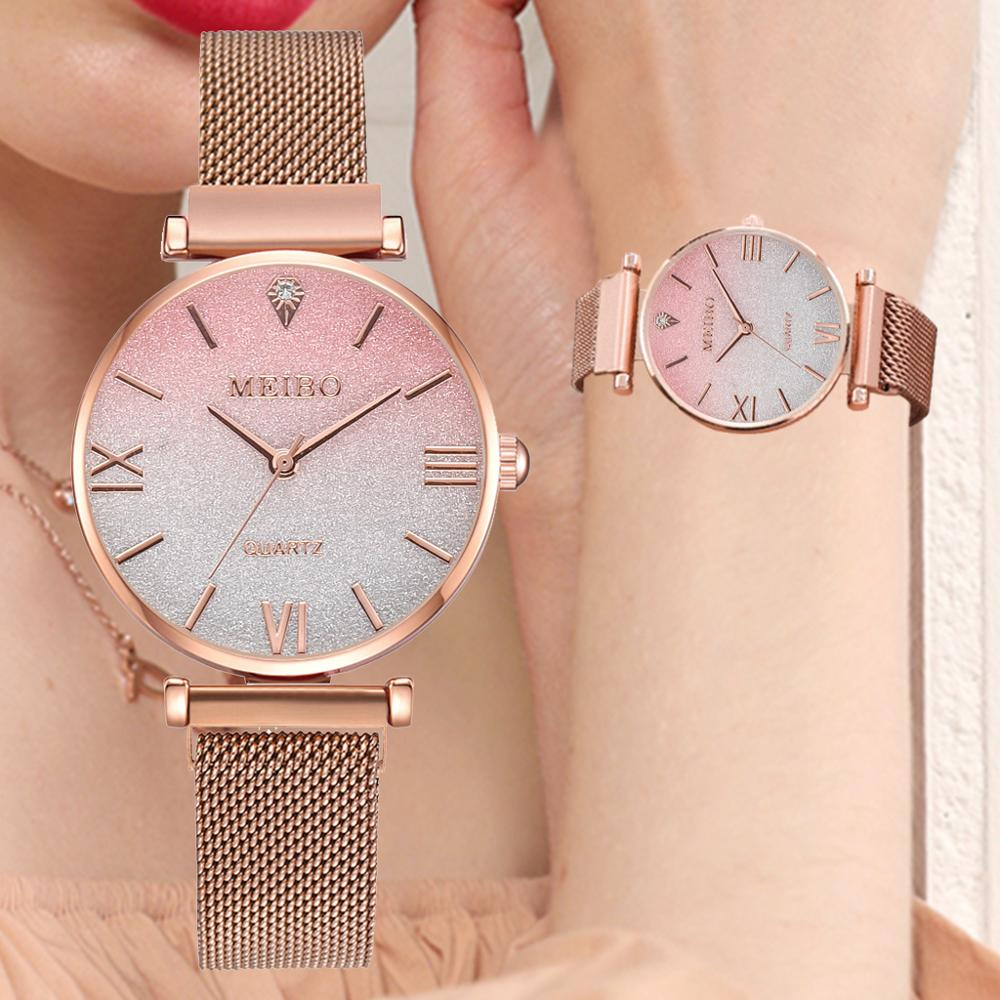 Woman Luxury Metal Belt Watches For Women Rose Gold Pink Starry Wristwatches Casual Ladies Sports Quartz Clock Drop Shipping
