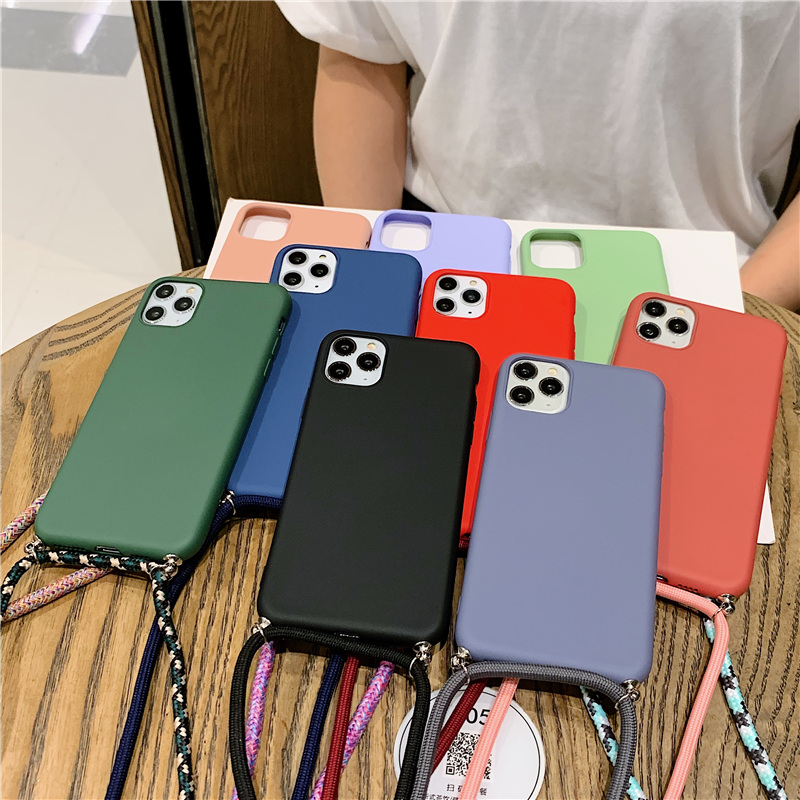 silicone phone case for samsung S20 plus cute tpu back cover coque with neck strap samsumg ultra s11E s10-5G crossbody lanyard