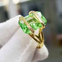 Cute Female Green Crystal Stone Ring Classic Gold Color Engagement Ring Luxury Square Zircon Wedding Rings For Women
