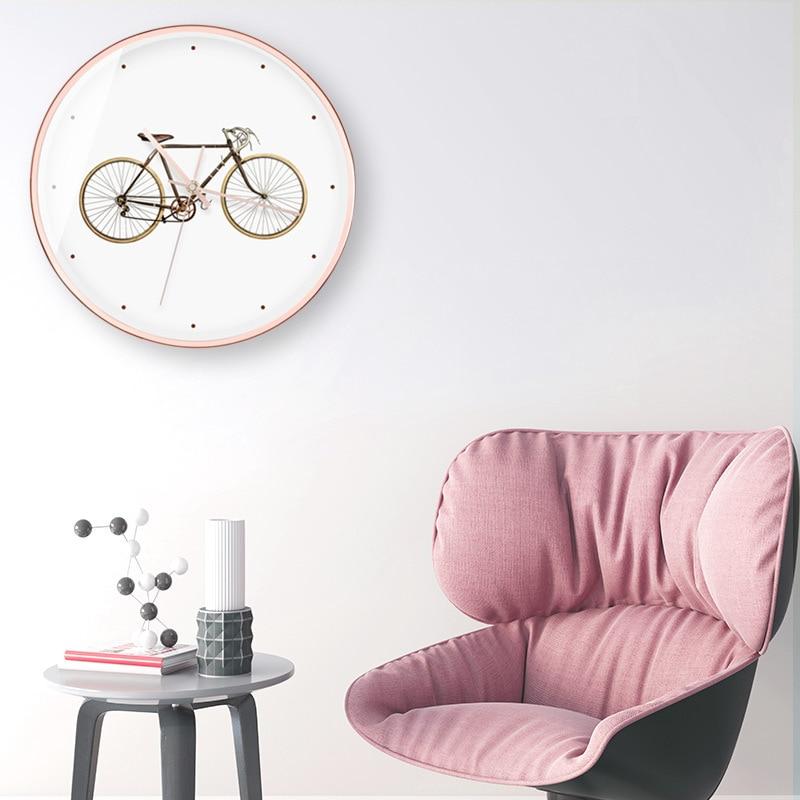 Horloge murale moderne minimaliste en bois silencieux salon créatif montres à Quartz accessoires de décoration de chambre horloges murales rondes - 5