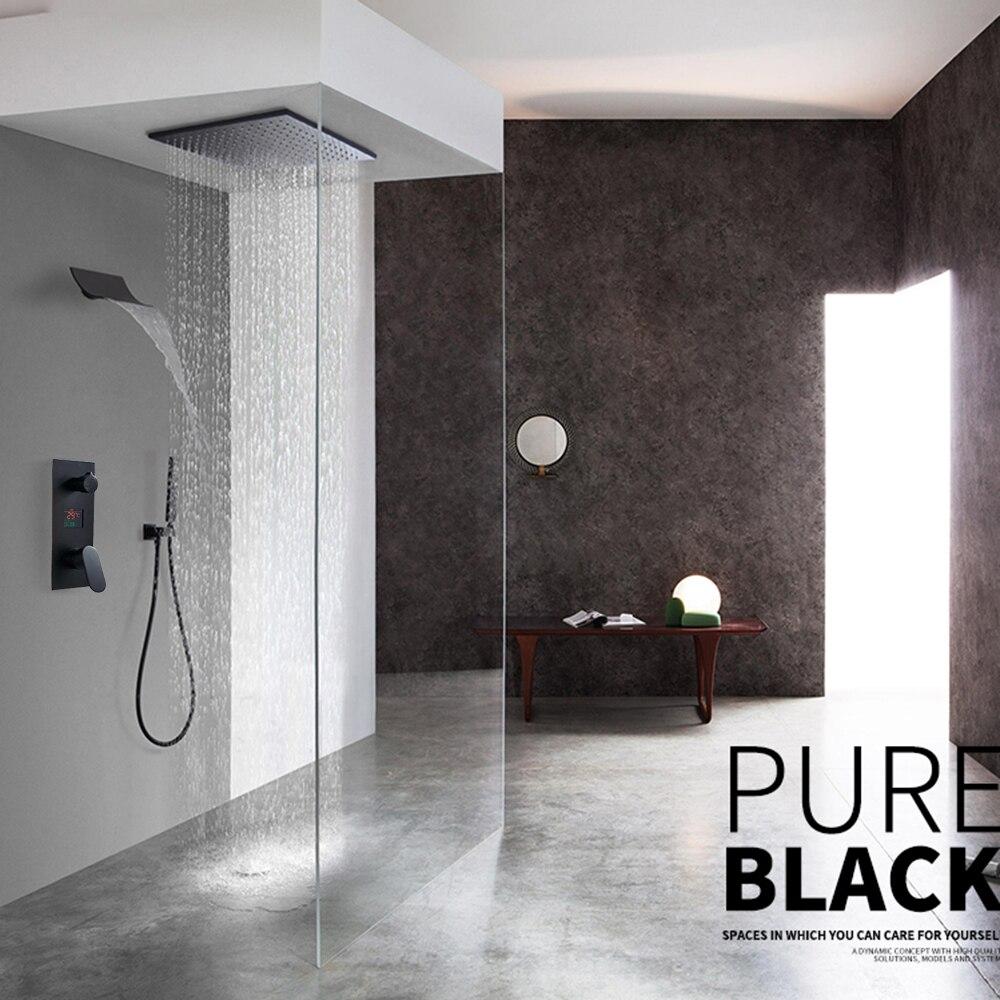 H02e948ee27464d31b1bf0fc35ff0a75d2 Waterfall Matte Black Bathroom Shower Faucet Black Digital Shower Faucets Set Rainfall Shower Head Digital Display Mixer Tap