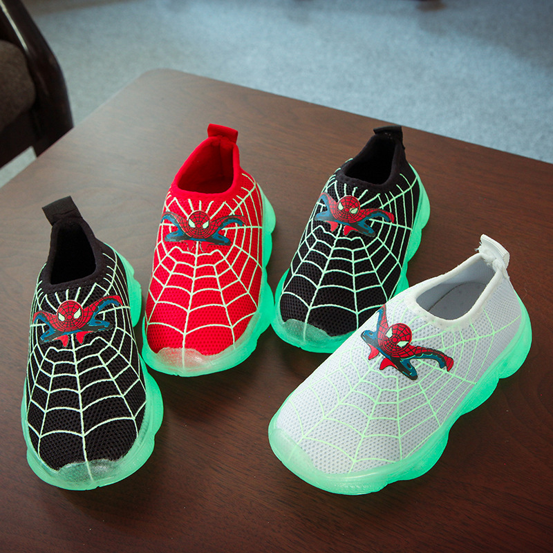 Baby Toddler Children Sneakers Cartoon Spiderman Luminous Shoes Running Boys/girls Sneakers Fashion Breathable Sports Kids Shoes