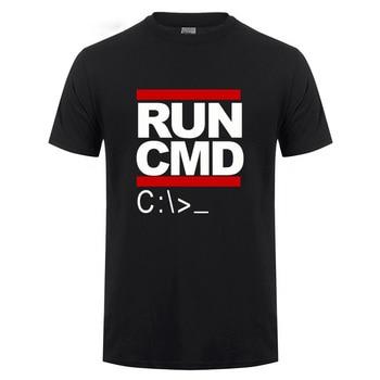 Run Cmd Computer Programmer T Shirts Funny Birthday Gift For Man Boyfriend Husband Summer Short Sleeve Cotton T-Shirt Geek Nerd