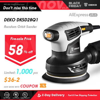 DEKO DKSD28Q1 280W Random Orbit Sander  with 15 Sheets of sandpaper Dust exhaust and Hybrid dust canister 1