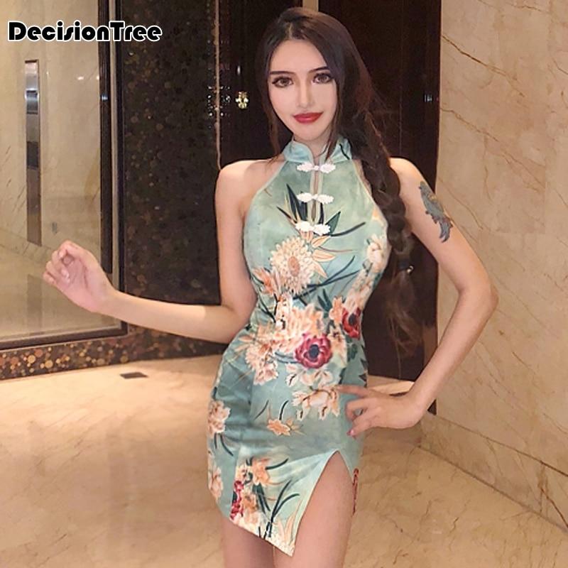 2020 Satin Women's Sleeveless Sexy Qipao Dress Chinese Style Formal Short Flower Cheongsam Chinese Dress Qipao Club Dress