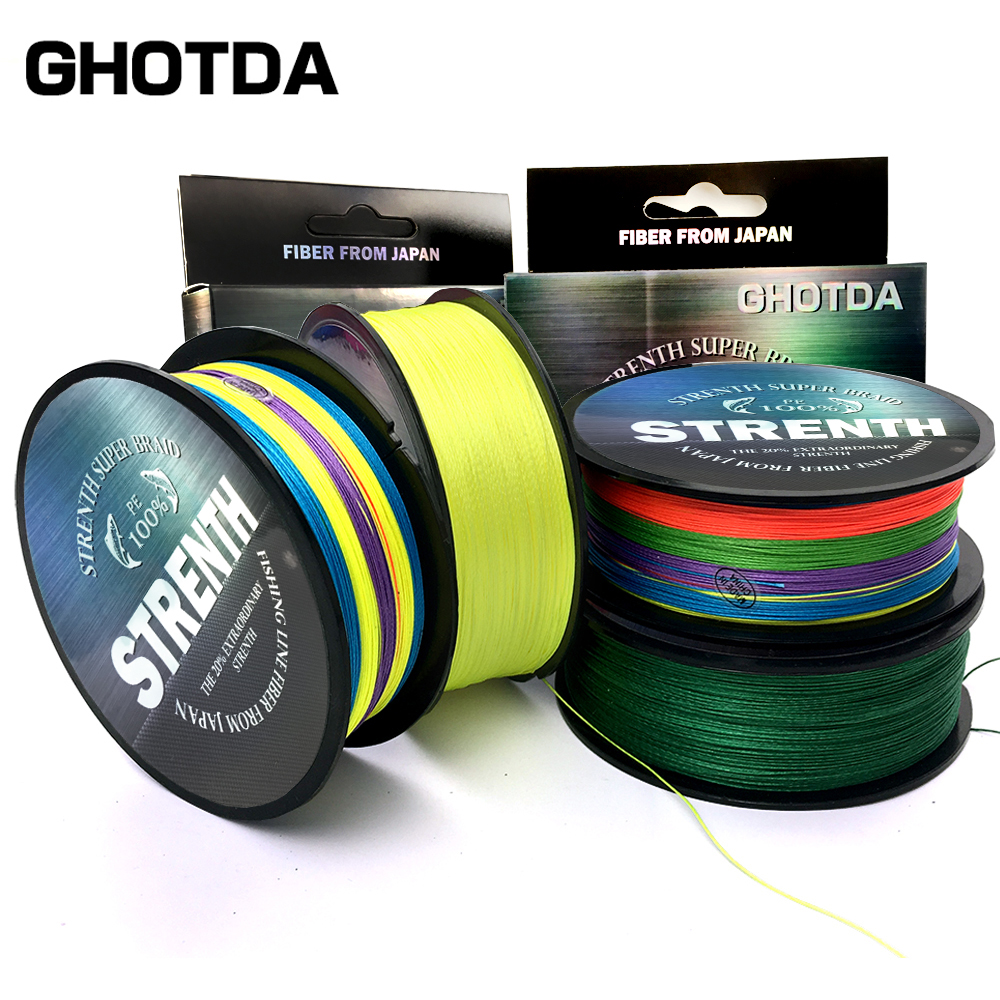 GHOTDA Fishing Line Multifilament 300M Braided 9/8/4 Strands MultiColor Multifilament Saltwater PE Line 10 -80LB