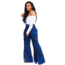 Women Autumn Elastic plus size Loose Denim Pocket Button High Waist flare jeans ladies Casual bell bottom Pants wide leg jeans цены онлайн