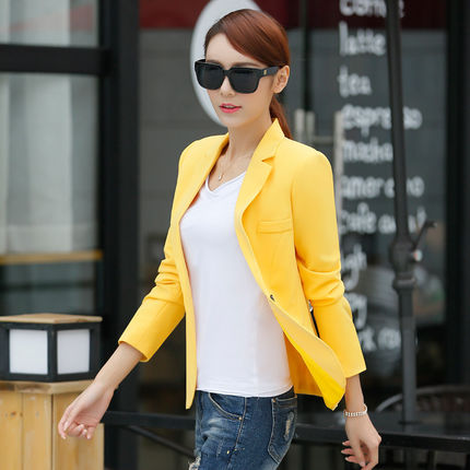 Spring and autumn Korean women's jacket casual suit long sleeve slim large size small suit