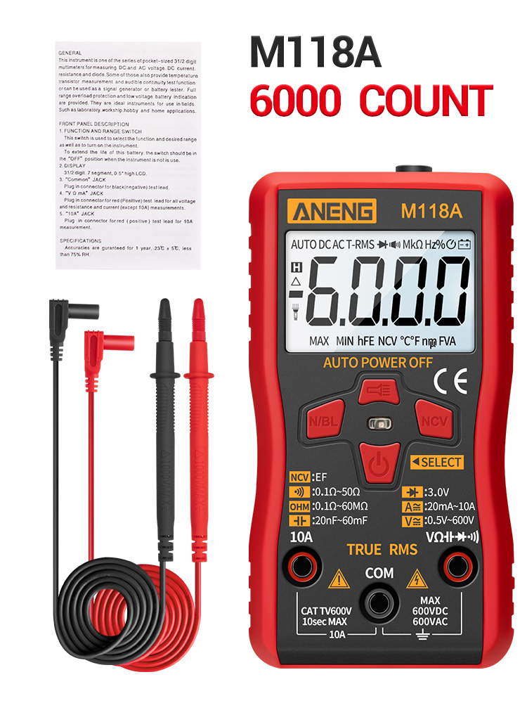 Multimeter-Tester Flashlight Tranistor-Meter Digital NCV True Rms M118A Auto Mini ANENG